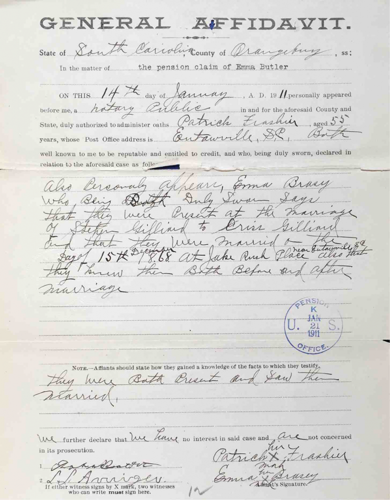 USCT Pension File of Stephney Gaillard, Certificate #749800.