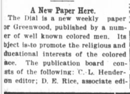 African American Genealogy: The Dial: Promoting the Religious and Educational Interests of the Race