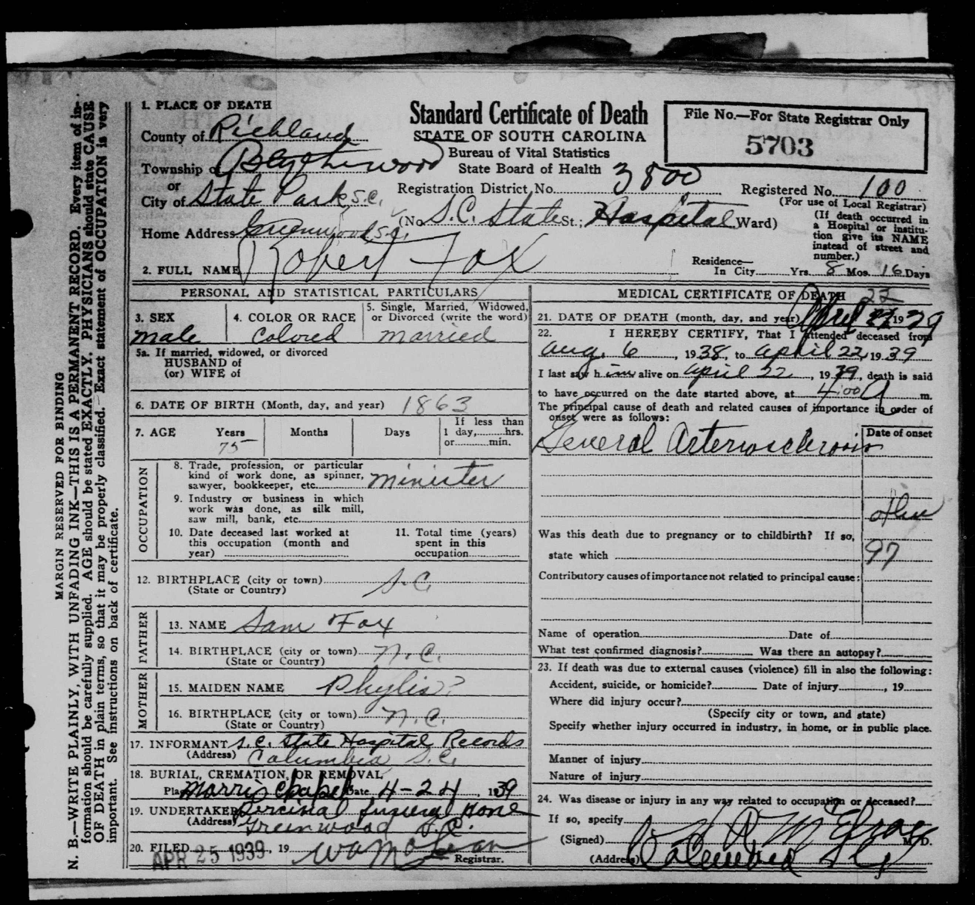 Death Certificate for Reverend Robert Fox