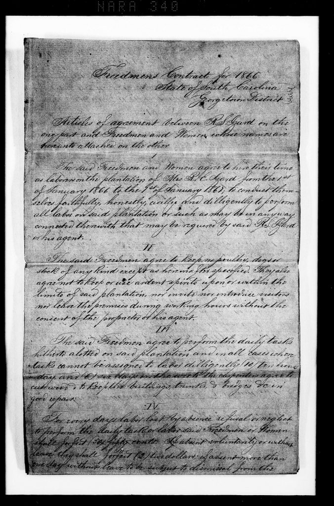Caesar Cohen, Labor Contract with R.S. Izard, Weymouth Plantation, 1866