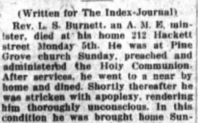 Fairview Cemetery Restoration: Reverend L. S. Burnett, The Dial, Mason, Minister