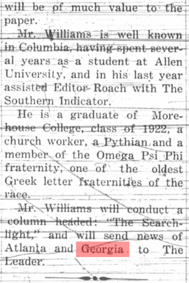 W. Frank Williams, Writes for Leader, (The Palmetto Leader), Columbia, South Carolina, 10 January 1925, Page 2, Column 2, , Historic Newspapers of South Carolina, http://historicnewspapers.sc.edu