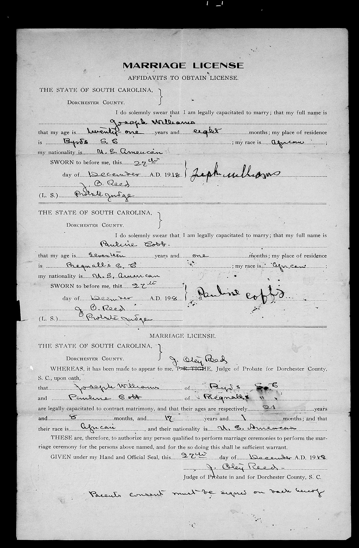 Found on FamilySearch: Dorchester County, South Carolina