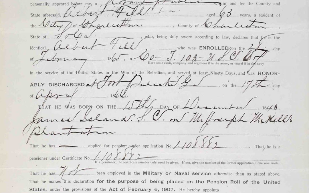 Fell, Albert. USCT Pension File Abstract, Company F, 103rd USCT, Charleston, SC