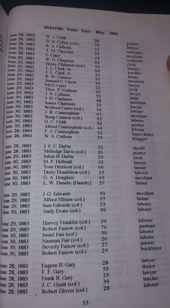 """""""Census of Abbeville Village and Abbeville Voter List May 1885,"""" compiled by Lowry Ware, page 33. Photo Robin Foster."""