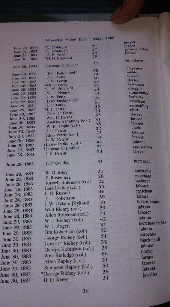 """""""Census of Abbeville Village and Abbeville Voter List May 1885,"""" compiled by Lowry Ware, page 36. Photo Robin Foster."""