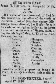 Advertisement for Sheriff's Sale, Macon, MS intelligencer., April 18, 1840, Image 2