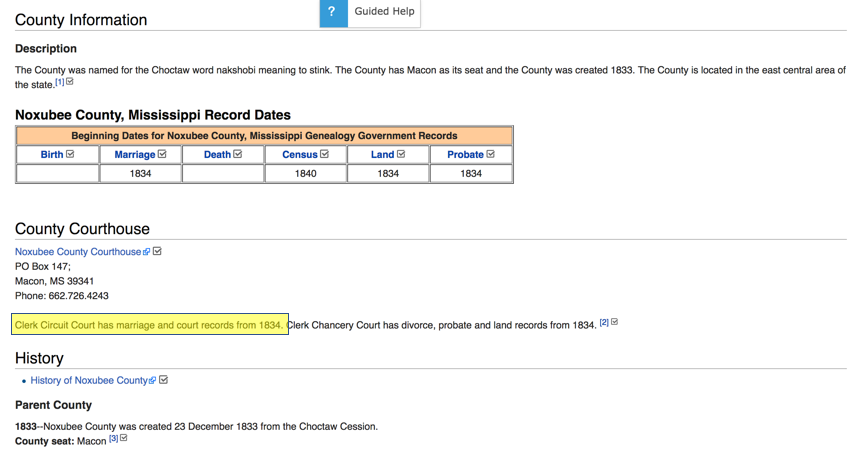 FamilySearch Wiki Page Noxubee County MS, Circuit Court Records Detail