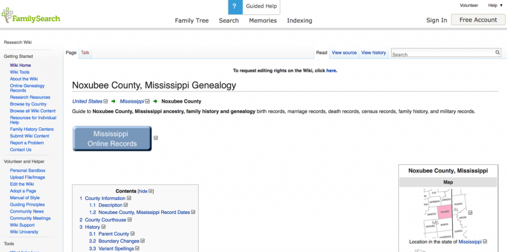 FamilySearch Wiki Page Noxubee County MS