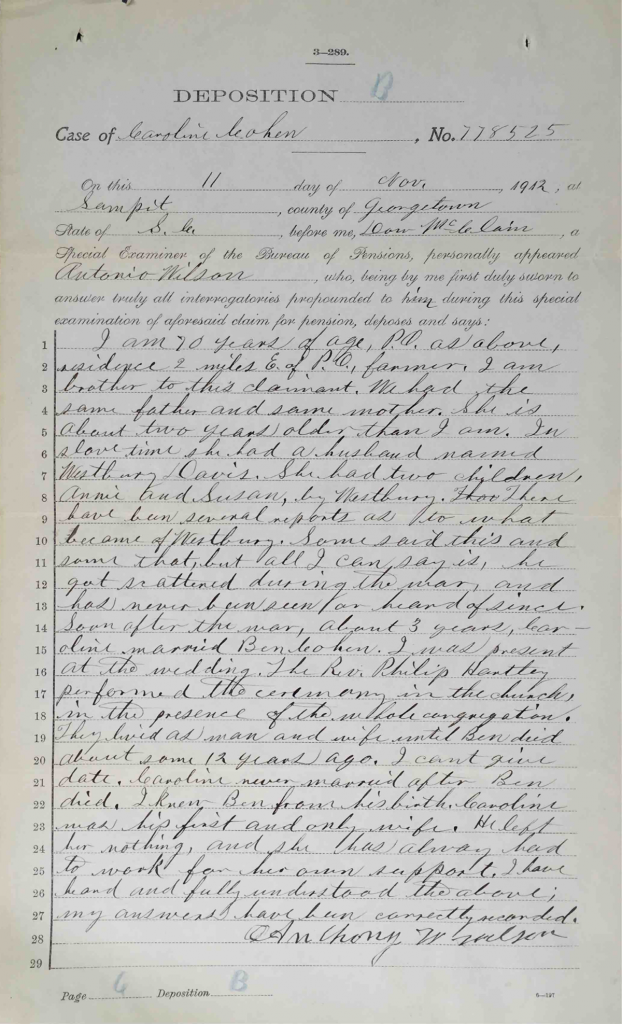 Testimony of Anthony Wilson, USCT Pension File of Benjamin Cohen