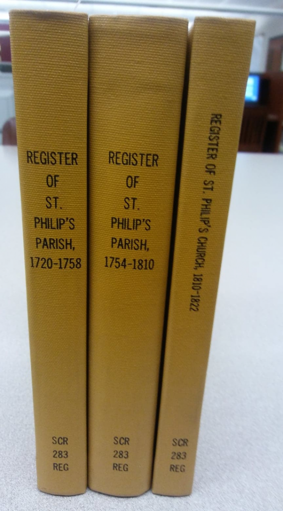 Register of St. Philip's Parish, 1720-1758, Register of St. Philip's Parish, 1754-1810, and Register of St. Philip's Church, 1810-1822. Photo by Robin R. Foster.