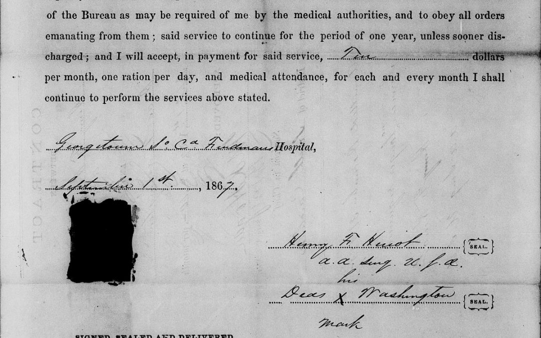 Georgetown, South Carolina Freedmen's Hospital, Register of Contracts with Freedmen, 1866 – 1867