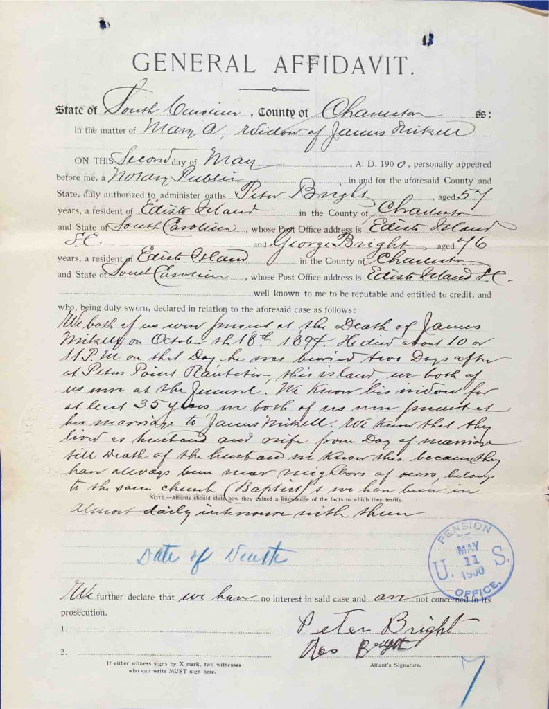 Testimony of Rev. Peter Bright and George Bright, USCT Pension File of James Walker aka James Mikell, Certificate #533.834.