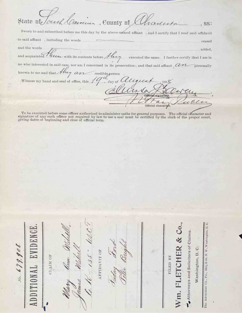 Testimony of Friday Ford and Rev. Peter Bright, USCT Pension File of James Walker aka James Mikell, Certificate #533.834.