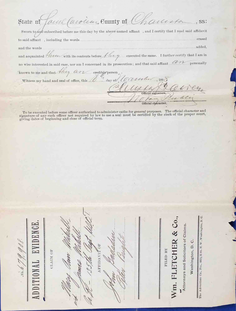 Testimony of John Gadsden and Rev. Peter Bright, USCT Pension File of James Walker aka James Mikell, Certificate #533.834.