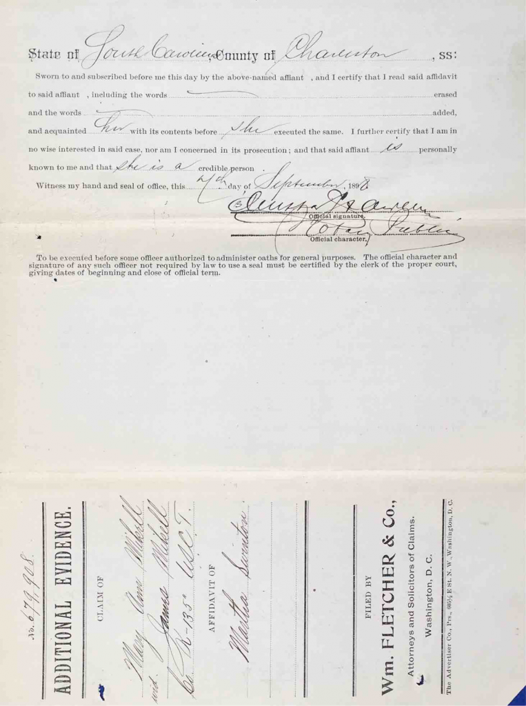 Testimony of Martha Swinton, USCT Pension File of James Walker aka James Mikell, Certificate #533.834.