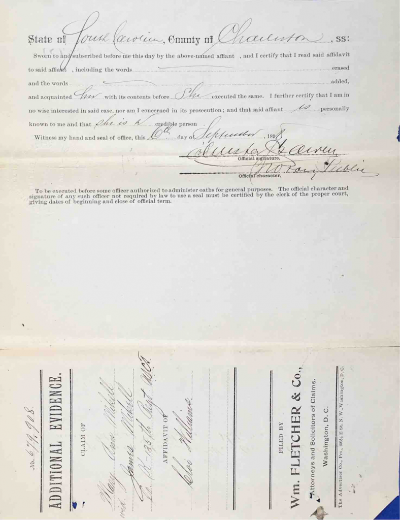Testimony of Cloe Williams, USCT Pension File of James Walker aka James Mikell, Certificate #533.834.