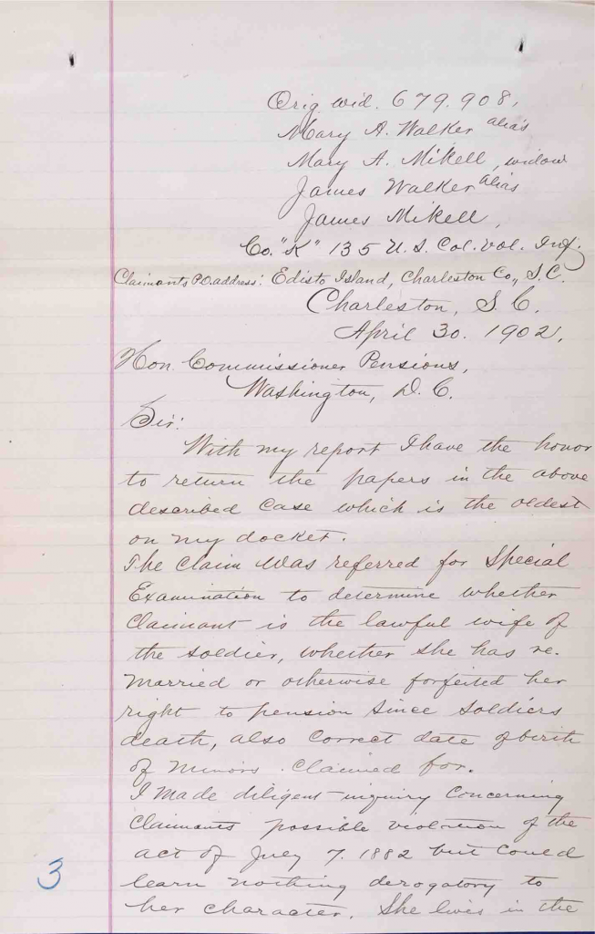Report of Special Examiner Wayne W. Cordell, USCT Pension File of James Walker aka James Mikell, Certificate #533.834.