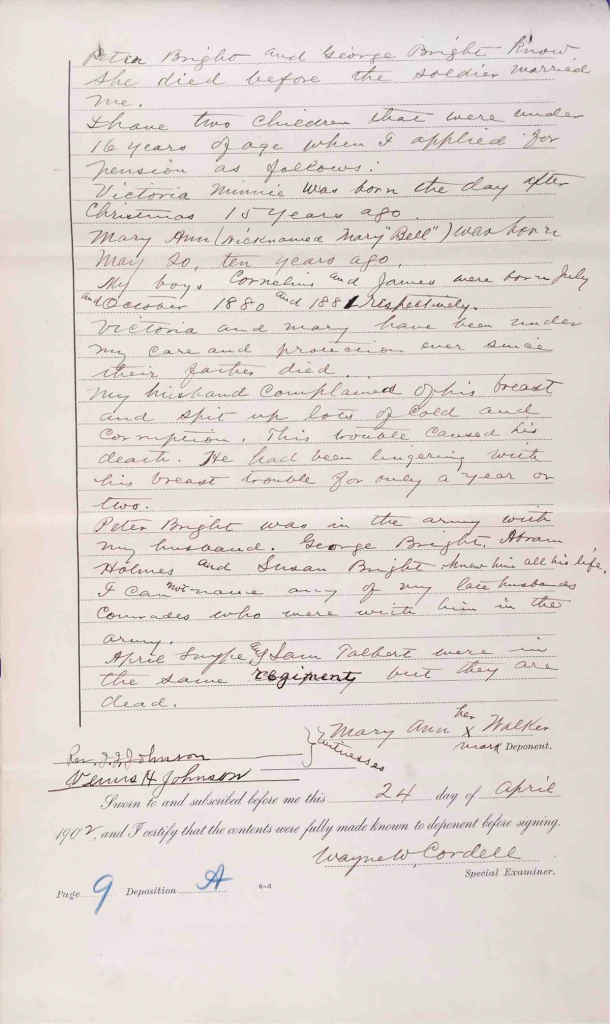 Testimony of Mary Ann Walker, USCT Pension File of James Walker aka James Mikell, Certificate #533.834.