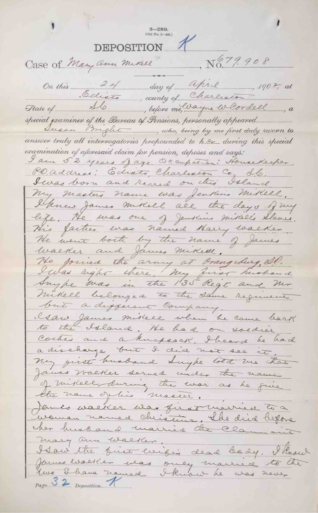 Testimony of Susan Bright, USCT Pension File of James Walker aka James Mikell, Certificate #533.834.