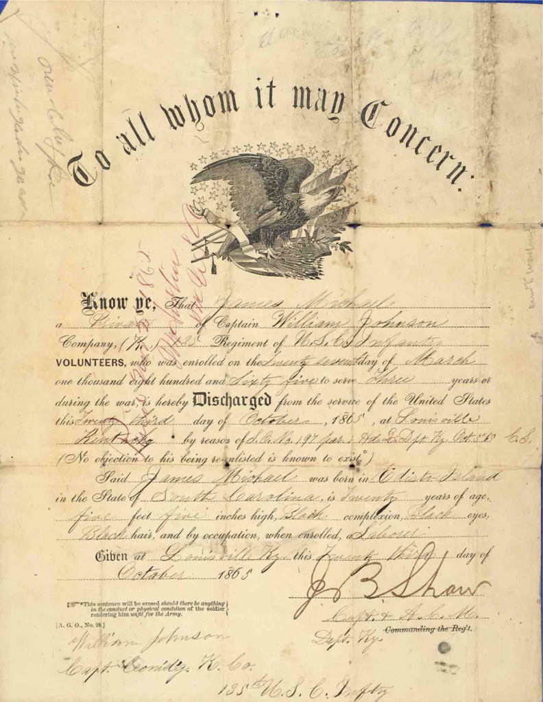 Discharge Certificate, USCT Pension File of James Walker aka James Mikell, Certificate #533.834.