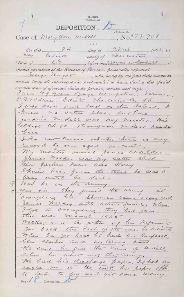 Testimony of George Bright, USCT Pension File of James Walker aka James Mikell, Certificate #533.834.