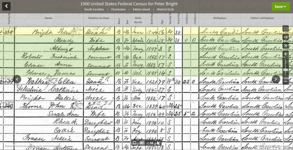 Ella Walker, 1900 US Census