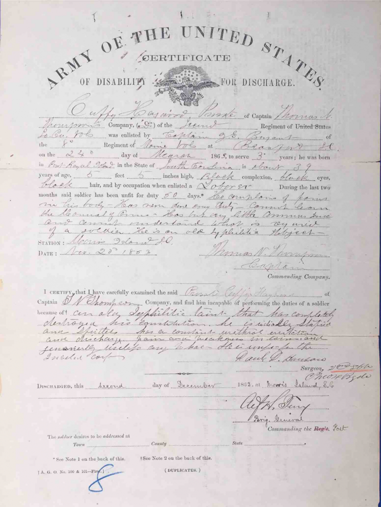 Discharge Certificate for Cuffy Haywood, Pension File of Cuffy Haywood, Certificate #465512