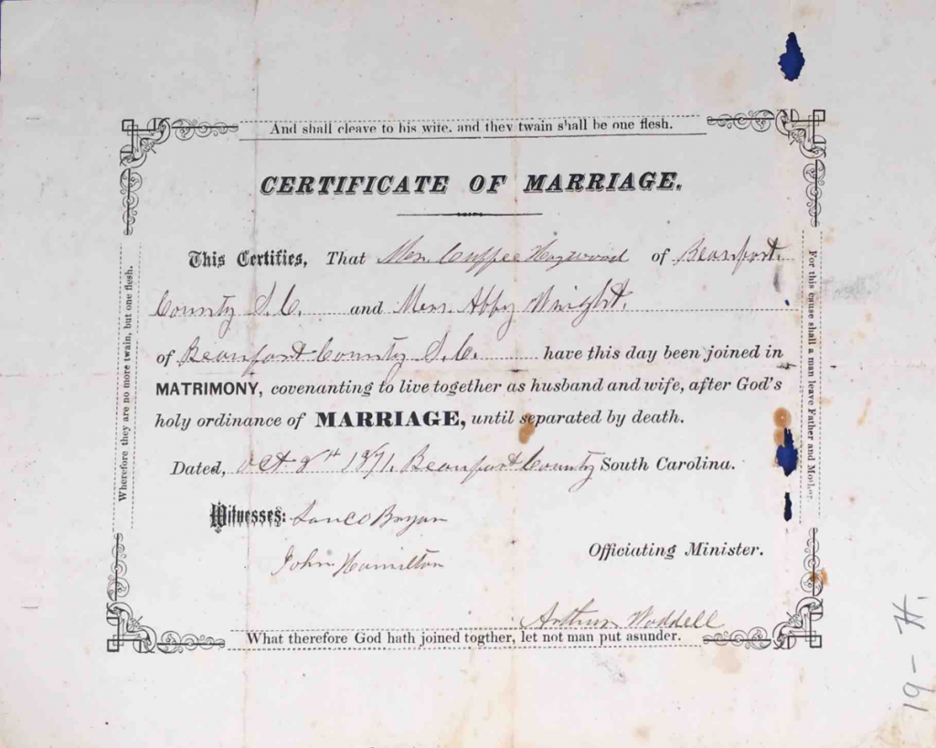 Marriage Certificate, Cuffy Haywood and Abby Wright, Pension File of Cuffy Haywood, Certificate#465512