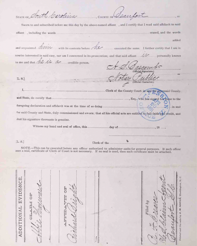 Statement of Richard Bright, Pension File of Cuffy Haywood, Certificate #465512