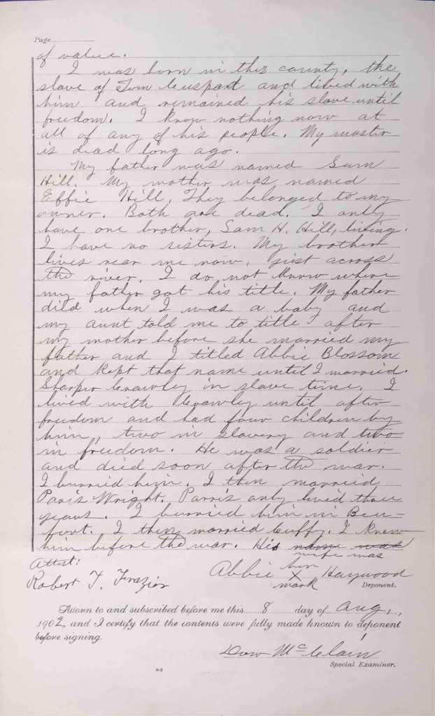 Testimony of Abbie Haywood, Pension File of Cuffy Haywood, Certificate #465512