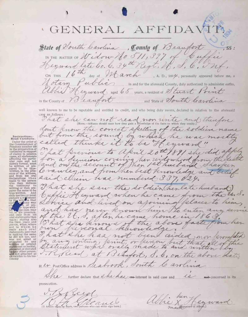 Testimony of Abbie Haywood, USCT Pension File of Cuffy Haywood, Certificate#465512.