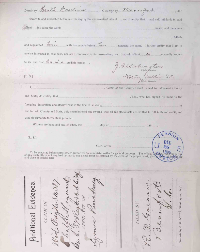 Statement of Lymas Pinckney, Pension File of Cuffy Haywood, Certificate #465512