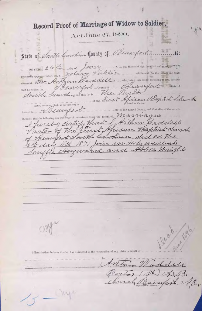 Statement of Reverend Arthur Waddell, Pension File of Cuffy Haywood, Certificate #465512