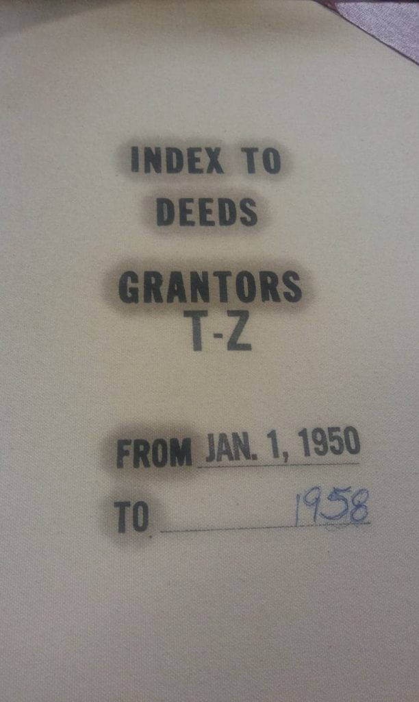 Richland County, South Carolina, Index to Deeds, Grantors T-Z, From Jan. 1, 1950 to 1958, Register of Deeds, Columbia, South Carolina. Photo by Ellis McClure.