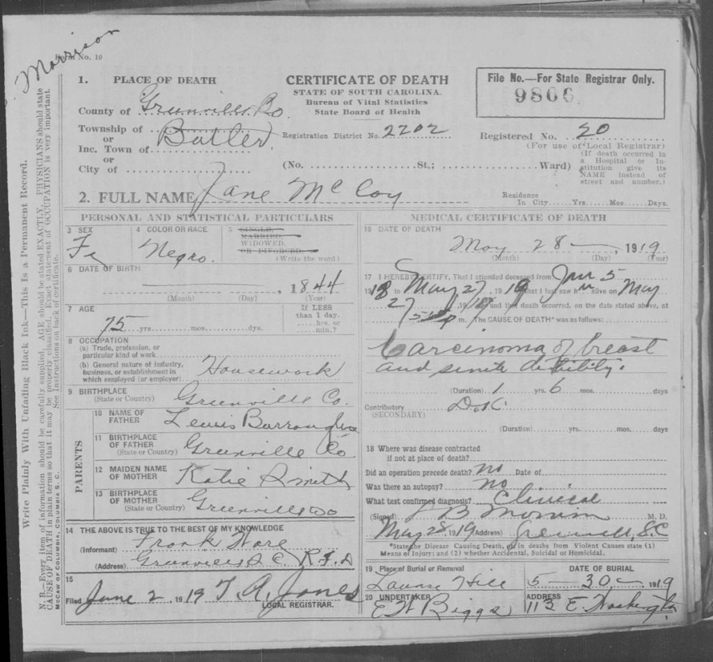 """""""South Carolina Deaths, 1915-1965,"""" database with images, FamilySearch (https://familysearch.org/ark:/61903/3:1:S3HY-6969-T6S?cc=1417492&wc=M6YD-GZQ%3A30404501 : 5 April 2018), 004177352 srcset="""