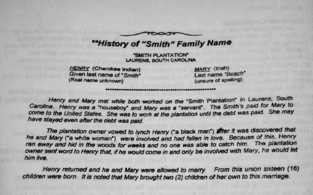 Henry and Mary Smith Met on the Plantation of John Skinner Smith in Laurens, SC