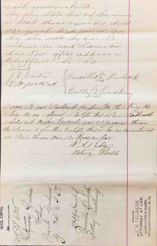 Statements of Priscilla Kinlock and Betty Pinckney in Pension File of Fortymore Gadson, Widow of Jacob Gadson, Company G, 34th USCT, Application #559635