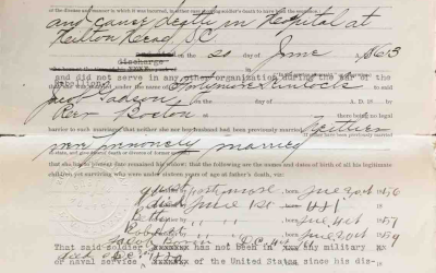 Gadson, Jacob. USCT Pension File Abstract, Company G, 34th United States Colored Troops, Hilton Head, Beaufort, SC