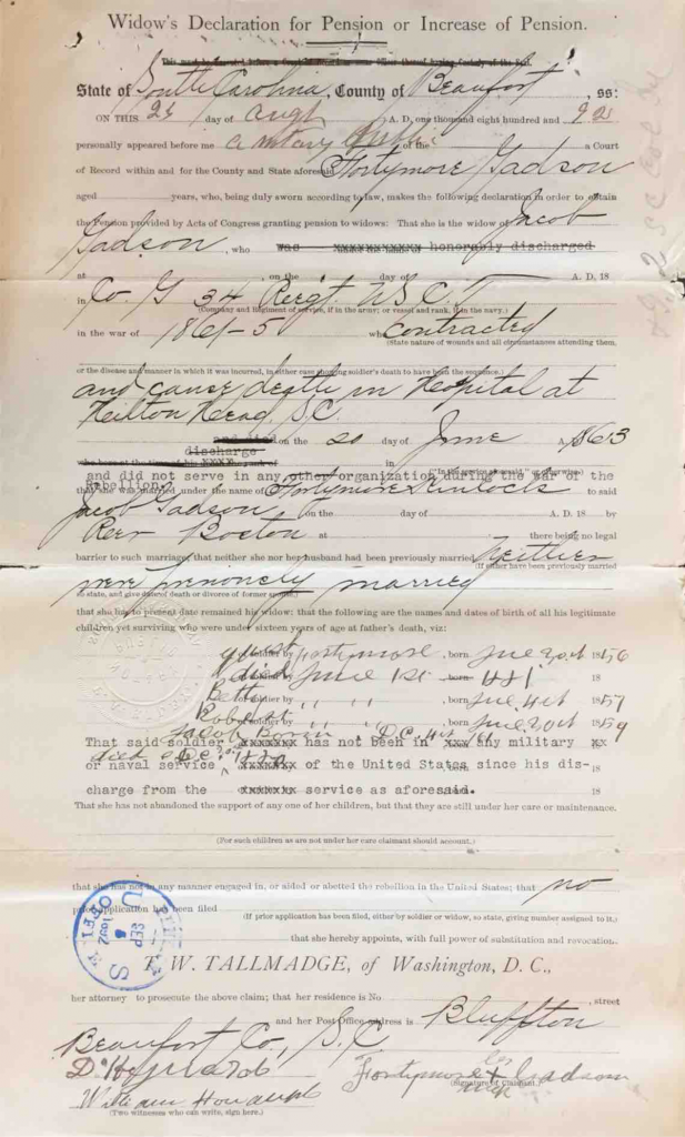 Declaration for Pension, Fortymore Gadson, Widow of Jacob Gadson, Company G, 34th USCT, Application #559635