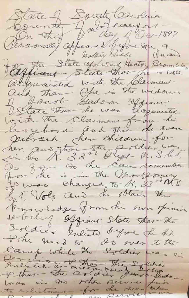 Statement of Hector Brown in Pension File of Fortymore Gadson, Widow of Jacob Gadson, Company G, 34th USCT, Application #559635
