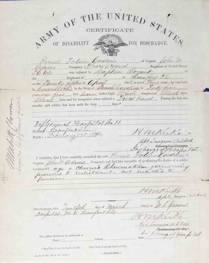 Certificate of Discharge for Disability, Fortune Goodwin, 34th USCT, Application #832620.
