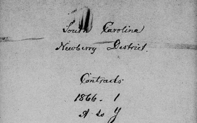 Newberry District, SC Freedmen's Labor Contracts, 1866