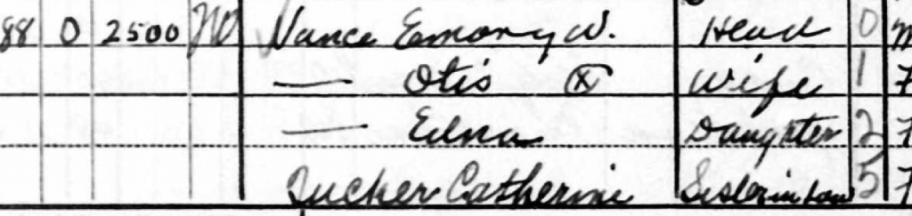 1940 Census Emory W. Vance and Family