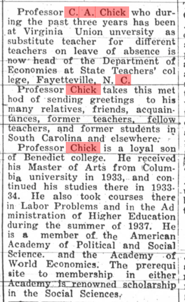 C. A. Chick or Clarence Anderson Chick, The Palmetto Leader, Columbia, South Carolina, 24 December 1938, page 3, column 3