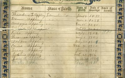 Arthur Applin Family Bible, Lowndes County, MS, Contributed by Valerie Herod Belay