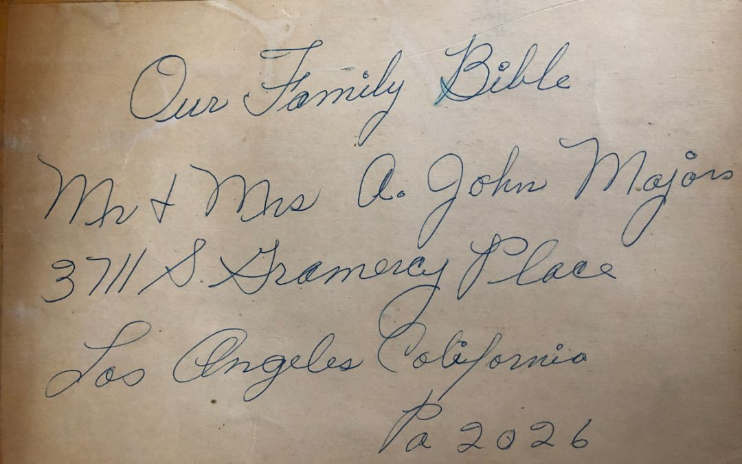 Mr. and Mrs. August John Majors' Family Bible, NC, TN, KS and CA, Contributed by Samantha R. Hudson