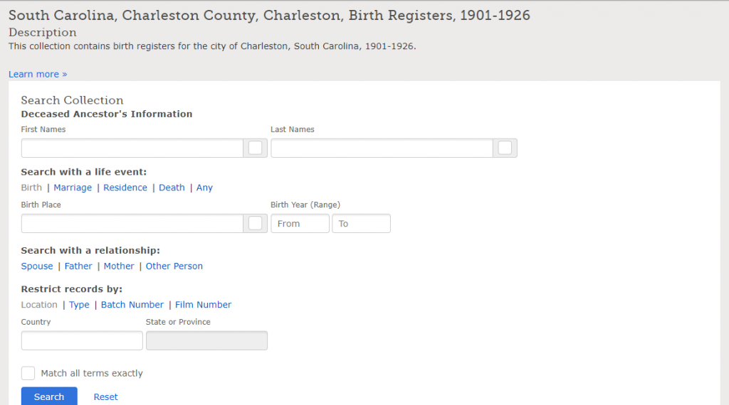 """South Carolina, Charleston County, Charleston, Birth Registers, 1901-1926."" Database. FamilySearch. https://FamilySearch.org : 25 September 2019. Charleston County Public Library; Charleston Archive, South Carolina."
