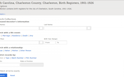 Collection Just Released on FamilySearch.org: South Carolina, Charleston County, Charleston, Birth Registers, 1901-1926