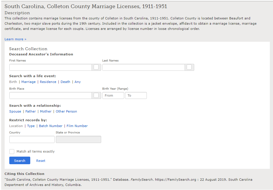 South Carolina. Probate Court (Colleton County). (2001). Colleton County, South Carolina marriage licenses. Salt Lake City, Utah: Filmed by the Genealogical Society of Utah.